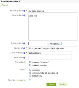Dodawanie aplikacji na Grono.net